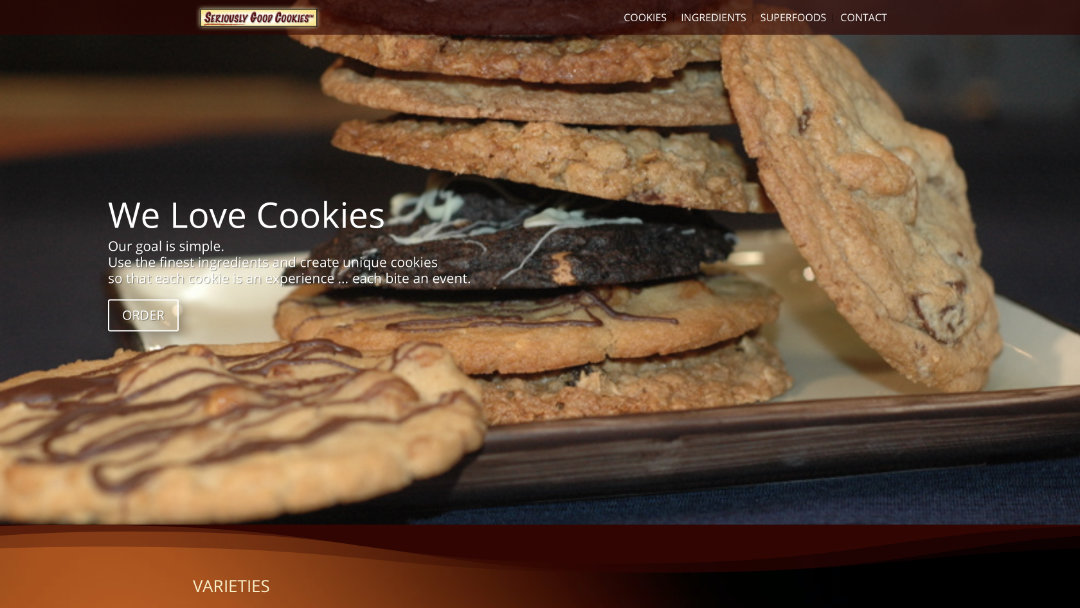 Home Page of the Seriously Good Cookies website project