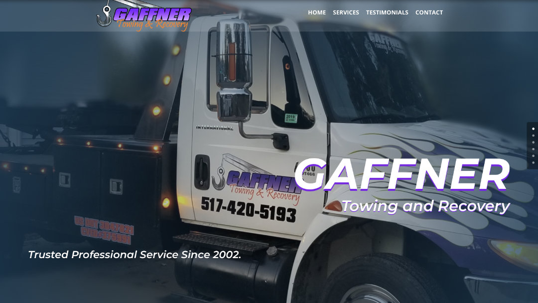 Home Page of the Gaffner Towing and Recovery website project