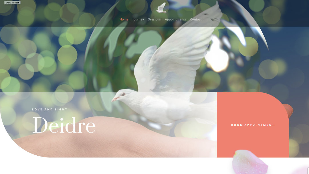 Home Page of the Readings by Deidre website project