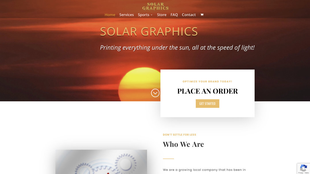 Home Page of the Solar Graphics website project
