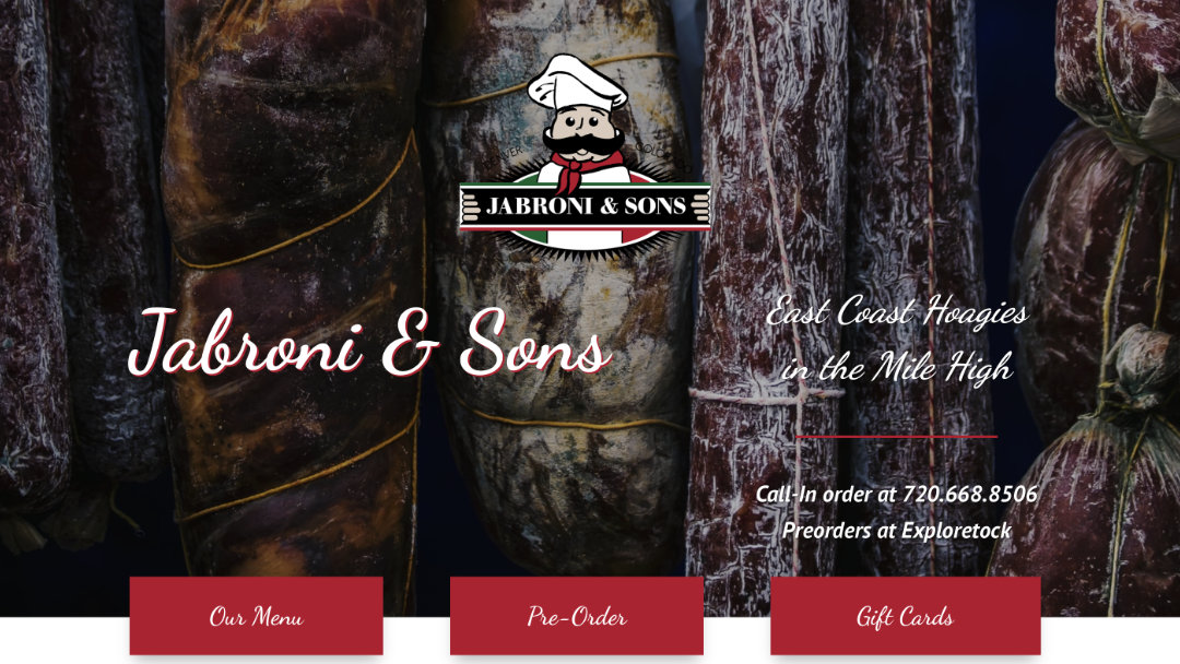 Home Page of the Jabroni and Sons website project