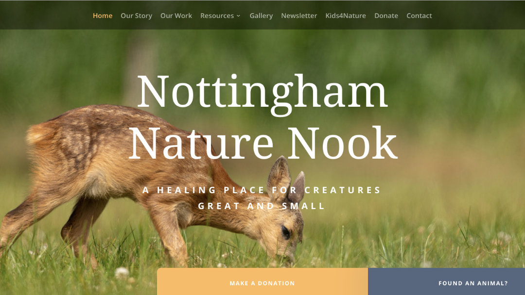 Home Page of the Nottingham Nature Nook website project